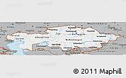 Gray Panoramic Map of Kazakhstan