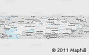 Silver Style Panoramic Map of Kazakhstan