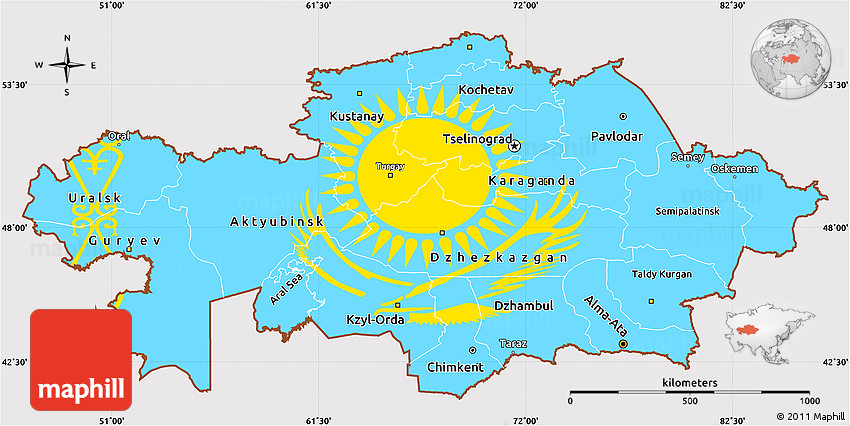 Kazakhstan Political Map.Flag Simple Map Of Kazakhstan