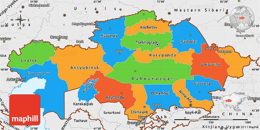 Kazakhstan country profile free maps of kazakhstan open source political simple map of kazakhstan single color outside borders kazakhstan political map sciox Choice Image