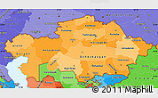Political Shades Simple Map of Kazakhstan