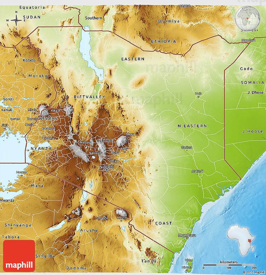 topographic map of kenya Physical 3d Map Of Kenya