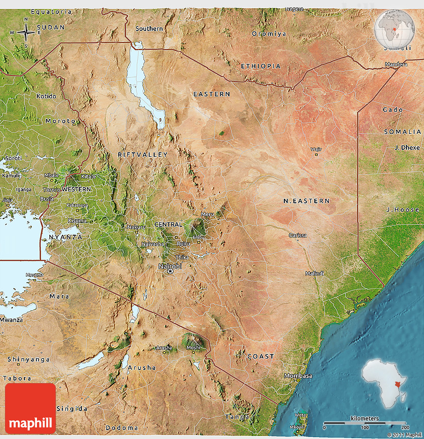 Satellite 3D Map of Kenya