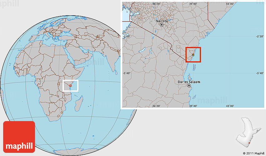 Gray Location Map Of MOMBASA - Where is kenya located