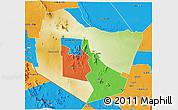 Physical 3D Map of TSAVO E&W N. PARK, political outside