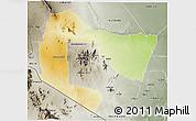 Physical 3D Map of TSAVO E&W N. PARK, semi-desaturated