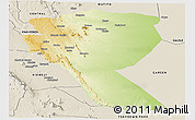 Physical Panoramic Map of MUTOMO, shaded relief outside