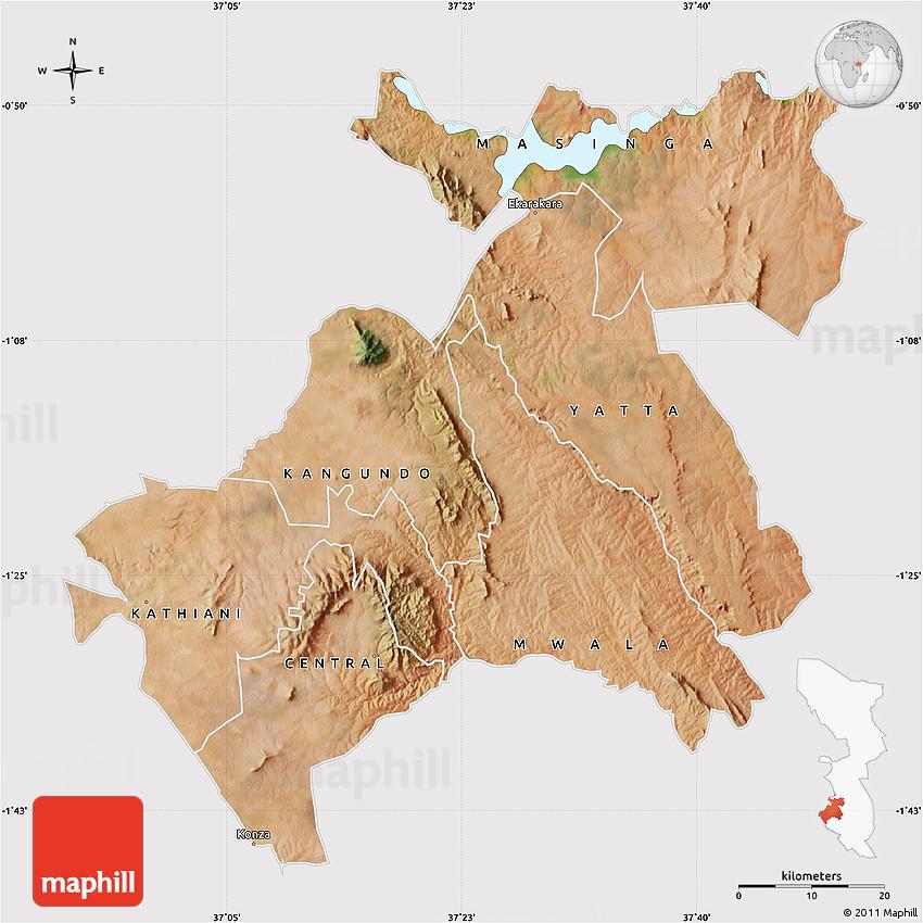 Satellite Map of MACHAKOS cropped outside