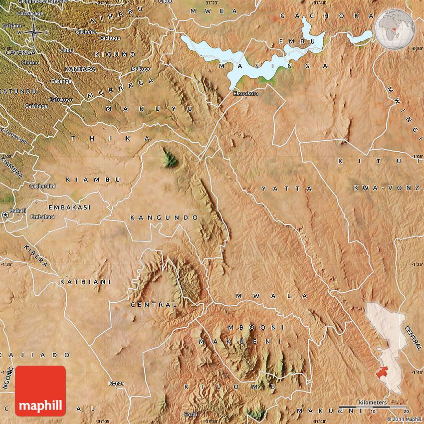 Satellite Map of MACHAKOS