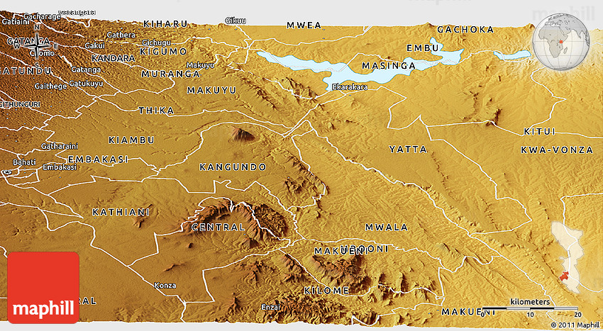 Physical Panoramic Map of MACHAKOS
