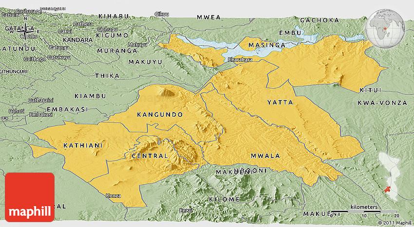 Savanna Style Panoramic Map of MACHAKOS