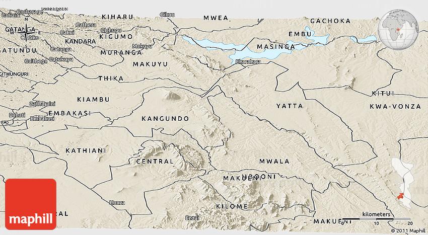 Shaded Relief Panoramic Map of MACHAKOS