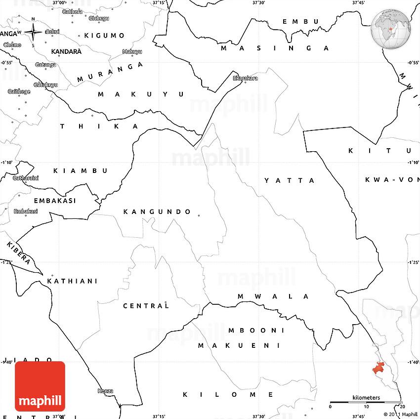 Blank Simple Map of MACHAKOS