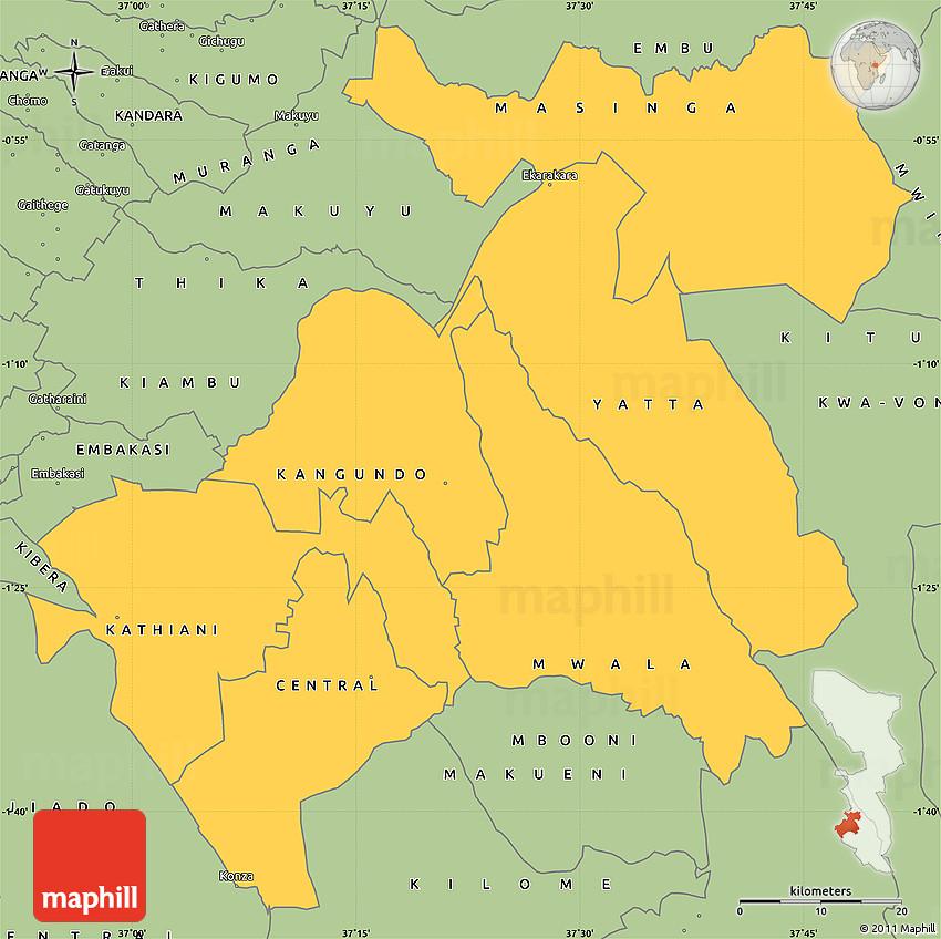 Savanna Style Simple Map of MACHAKOS