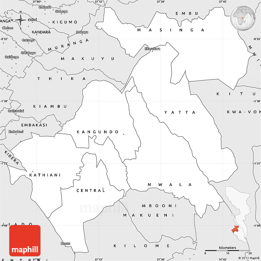Silver Style Simple Map of MACHAKOS