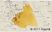 Physical 3D Map of MAKUENI, shaded relief outside