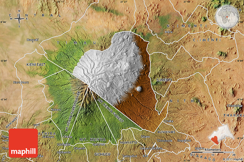 Physical Map Of MOUNT KENYA FOREST Satellite Outside - Kenya physical map