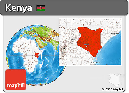 Physical Location Map of Kenya, highlighted continent