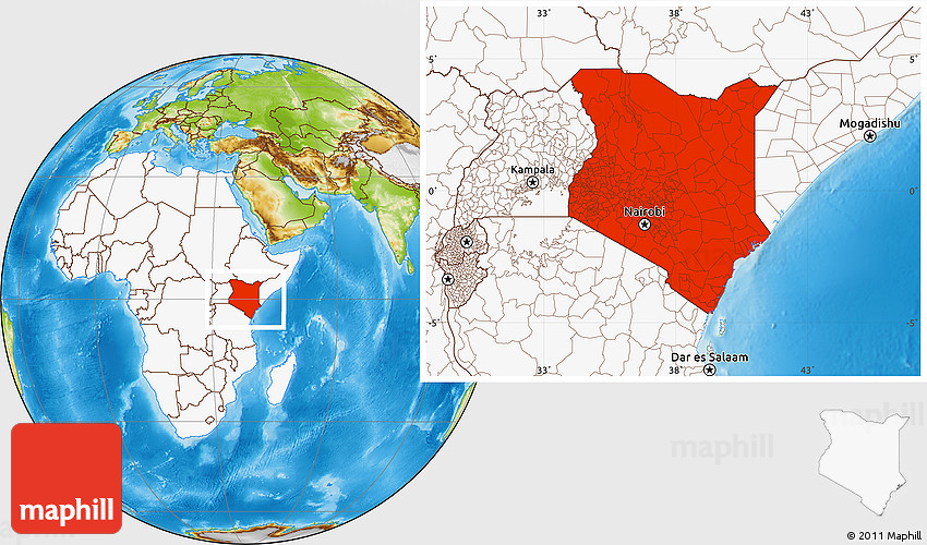 Physical location map of kenya highlighted continent 2d gumiabroncs Images