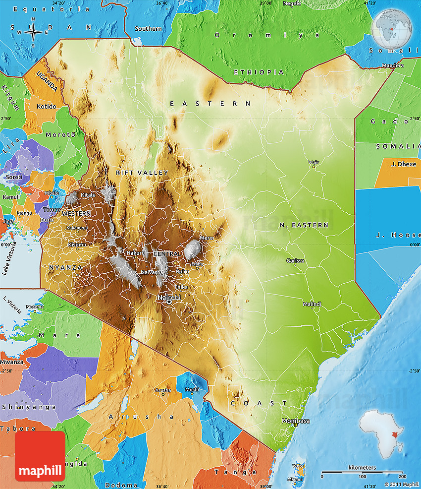 Physical Map Of Kenya Political Outside Shaded Relief Sea - Kenya physical map