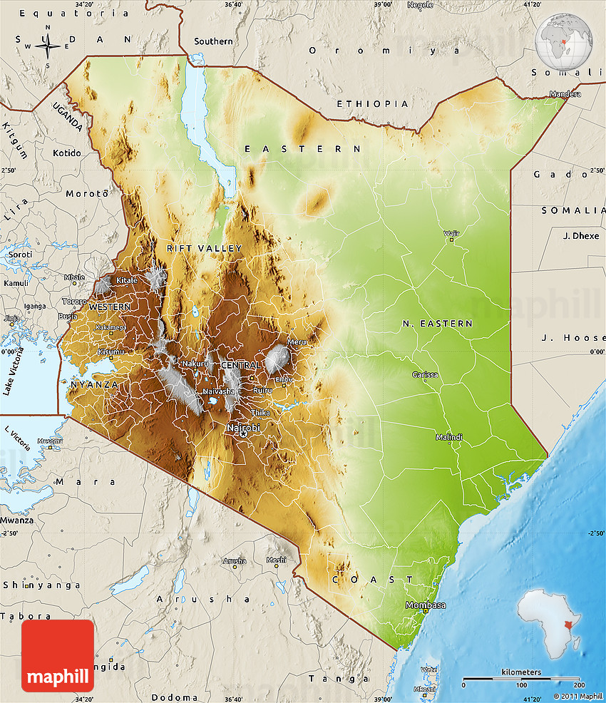 Physical Map of Kenya, shaded relief outside