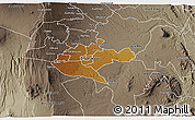 Physical 3D Map of NAIROBI, semi-desaturated