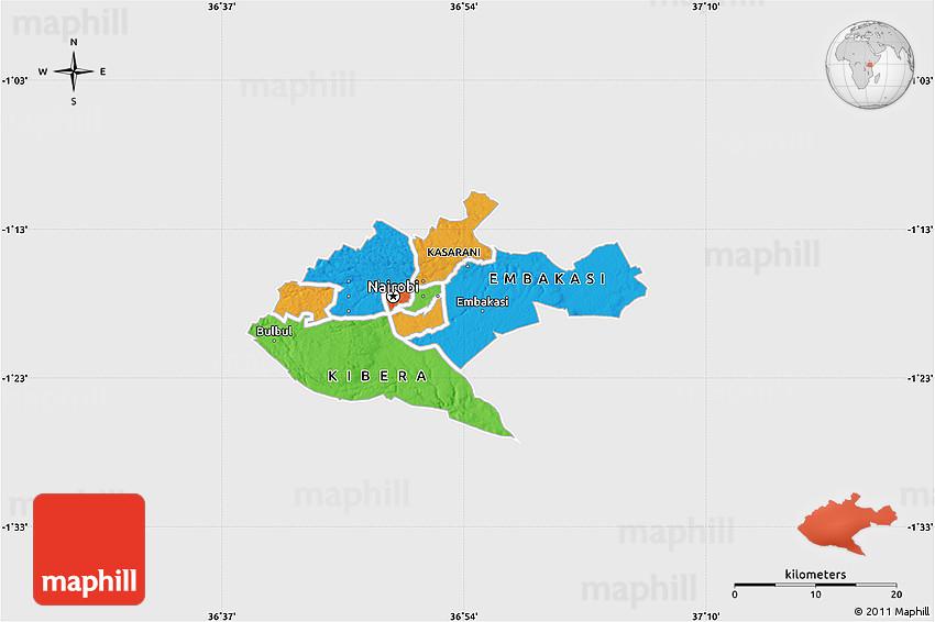 Political Map Of NAIROBI Single Color Outside - nairobi map