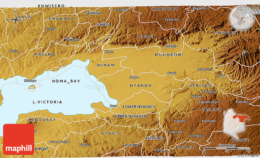 Physical 3D Map of KISUMU