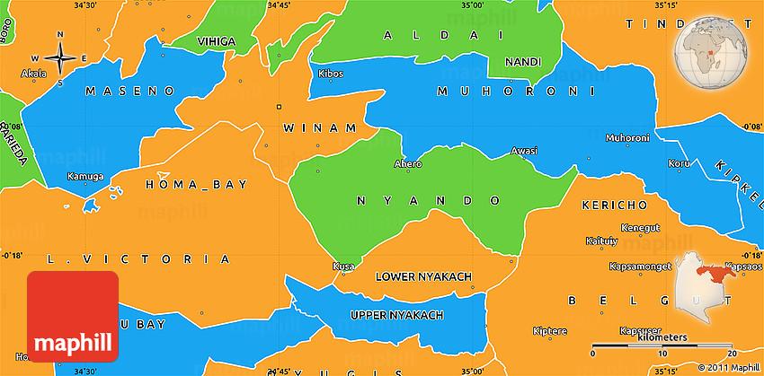 Political Simple Map of KISUMU