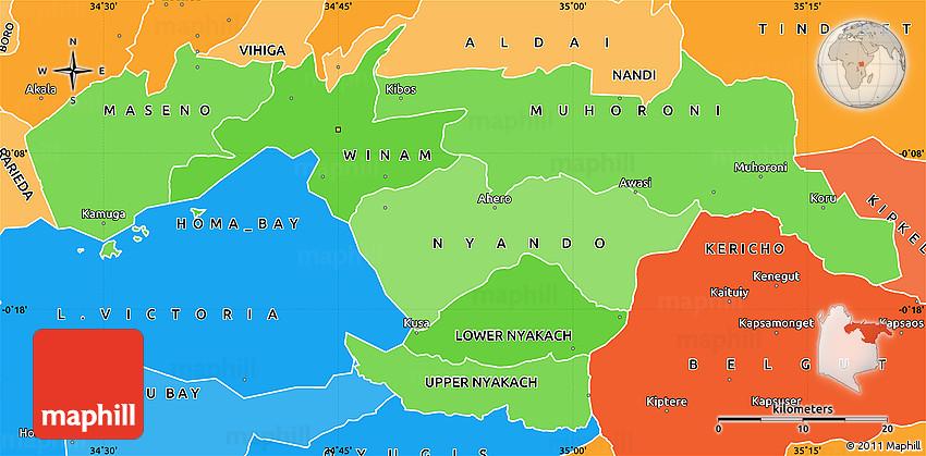 Political Shades Simple Map of KISUMU