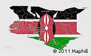 Flag Panoramic Map of Kenya