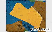Political 3D Map of LOITOKITOK, darken
