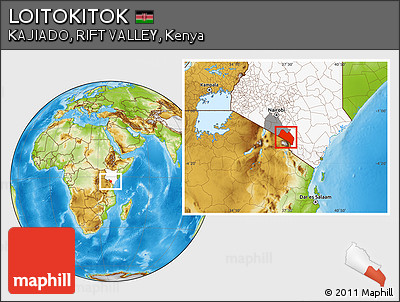Physical Location Map of LOITOKITOK, highlighted country, highlighted parent region