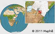 Satellite Location Map of LOITOKITOK, highlighted country, highlighted parent region