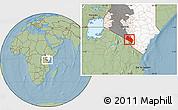 Savanna Style Location Map of LOITOKITOK, highlighted country, highlighted grandparent region, hill shading