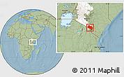 Savanna Style Location Map of LOITOKITOK, highlighted grandparent region, hill shading