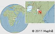 Savanna Style Location Map of LOITOKITOK, highlighted parent region, hill shading