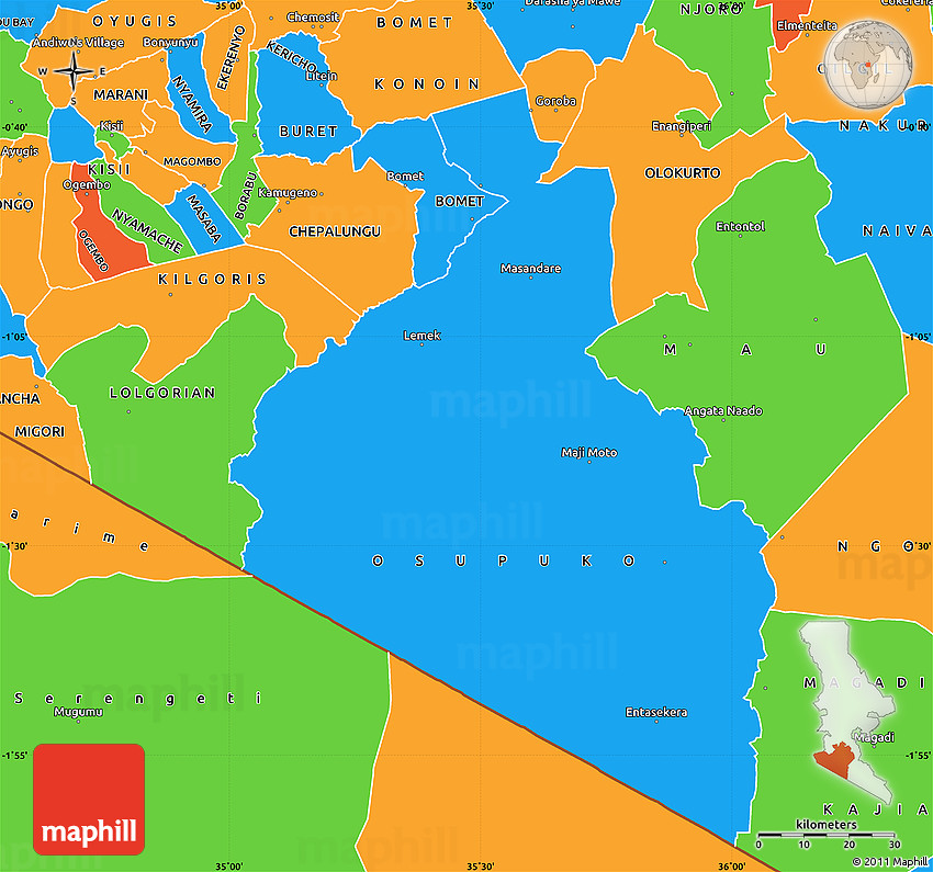 Political Simple Map of NAROK