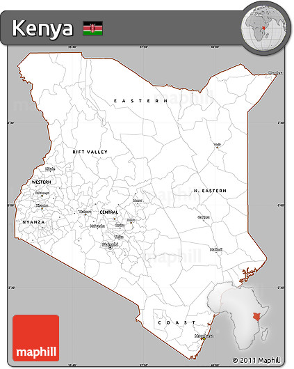 Gray Simple Map of Kenya, cropped outside
