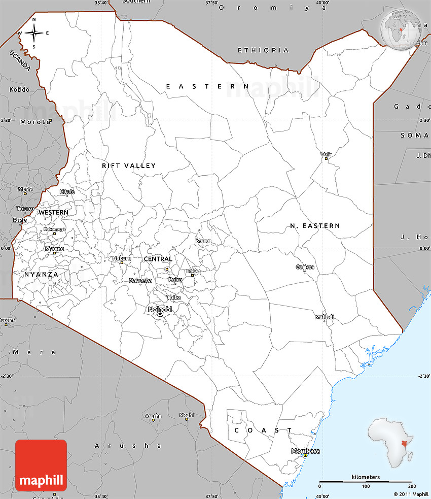 Free Gray Simple Map of Kenya