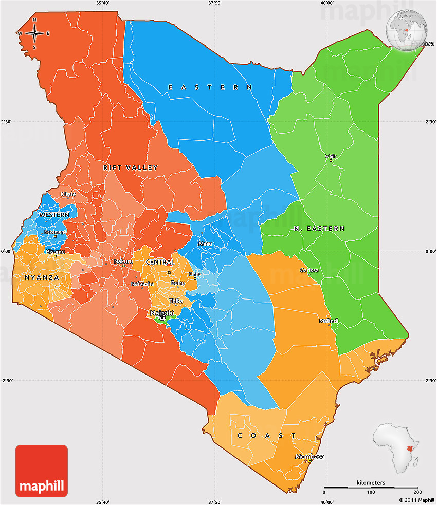 Political Simple Map Of Kenya Cropped Outside - Map of kenya