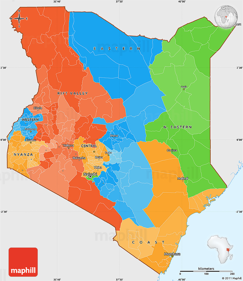 Political Simple Map of Kenya, single color outside