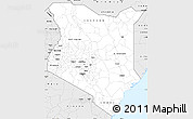 Silver Style Simple Map of Kenya