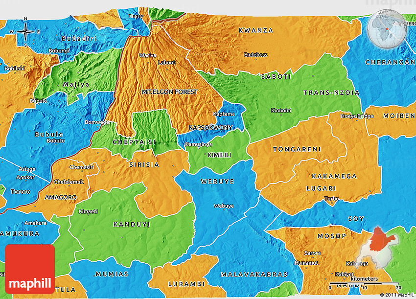 Political 3d map of bungoma 2d 82 3d 82 gumiabroncs Choice Image