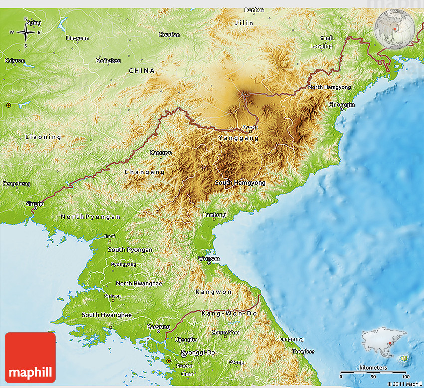 Physical 3D Map of North Korea