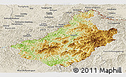 Physical Panoramic Map of Changang, shaded relief outside