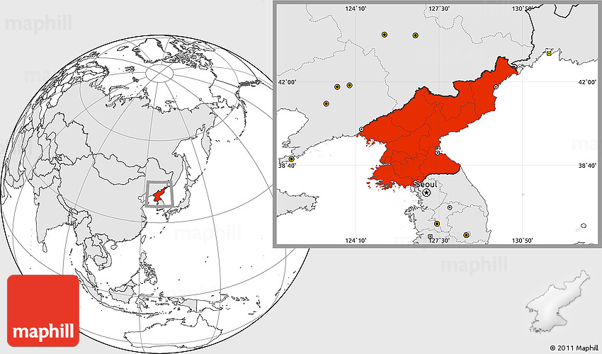 Blank location map of north korea highlighted continent westnortheast south gumiabroncs Images