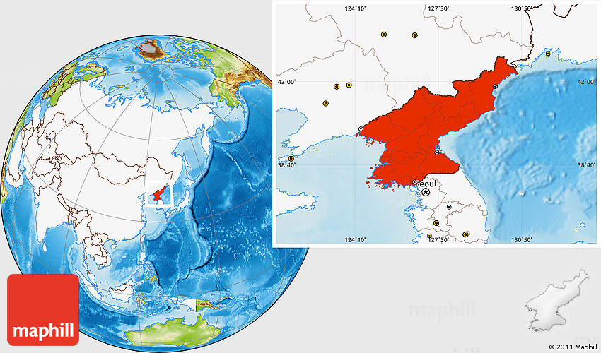 Physical location map of north korea highlighted continent gumiabroncs