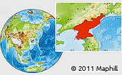 Physical Location Map of North Korea