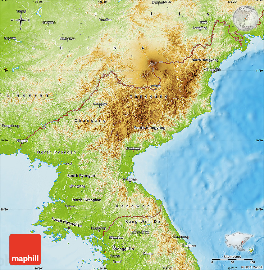 Physical Map Of North Korea